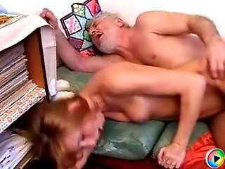 Horny young harlot has a wild fuck with a sex-starved old timer