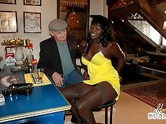 Two horny old men and a swarthy guy fucking a hot black chick in the ass and giving her the craziest gangbang