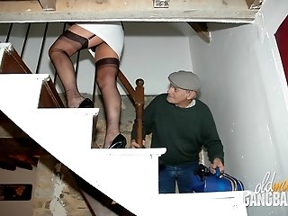 Woman in stockings shows her nice boobs, then gets DPed and gangbanged by four dudes including an old-ass grandpa